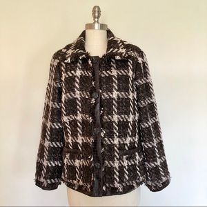 Chicos Brown Tweed Jacket Size Small